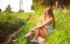 natura, ricreazione, ragazza, estate