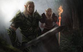 girl, staff, guy, magician, Art, forest, warrior, sword, Elves