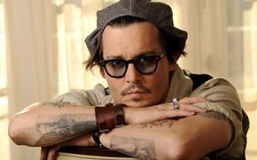óculos, ver, tatuagem, ator, boné