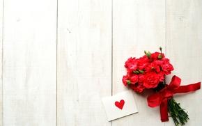 День Святого Валентина, бантик, праздник, гвоздики, сердечко, открытка, цветы, лента