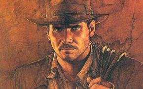Indiana Jones, disegno, matita., ruolo, principale, Art, in, direttore, Harrison Ford, genere, Steven Spielberg, thriller, Perduta, pellicola, Avventure