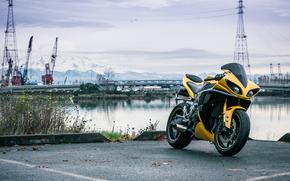 port, Cranes, motorcycles, Yamaha, motorcycle, river, yellow