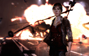 helicopter, girl, wreck, Jody Holmes, Scars, road, Ellen Page, necklace, explosion, fire, debris, view