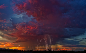 sky, CLOUDS, lightning, storm, evening, Arizona