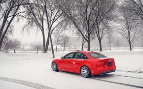 ауди, Audi, красная, зима, снег