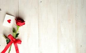 День Святого Валентина, лента, праздник, сердечко, роза, открытка, бантик, цветок