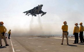 sky, aircraft carrier, plane, Harrier, takeoff