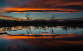 evening, lake, trees, CLOUDS, nature, water, reflection, sky