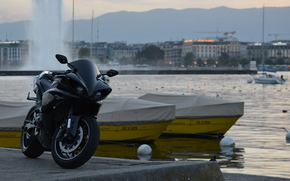 Boat, Yamaha, FOUNTAIN, black, city, motorcycles