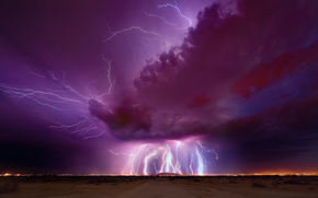 evening, CLOUDS, sky, storm, lightning, night, lightning, Arizona