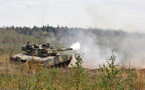 Tanque forças da Federação Russa, tiro, fumar