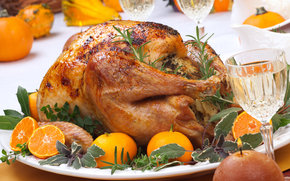 food, rosemary, gala dinner, turkey, tangerines, candle, table, chicken
