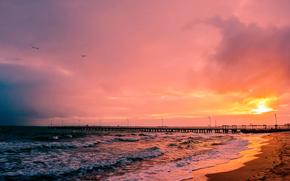 tramonto, mare, PEARCE, paesaggio