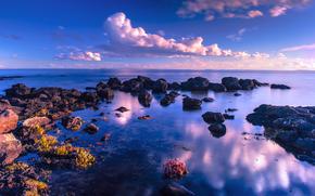 море, небо, берег, камни, пейзаж
