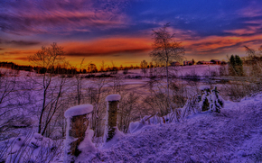 sunset, winter, lake, landscape