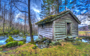 river, cabin, forest, trees, landscape