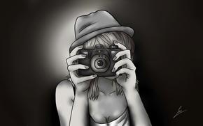 ragazza, mani, fotocamera, disegno, fumetti, anime, cappello