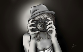 chica, manos, cámara, dibujo, historietas, animado, sombrero