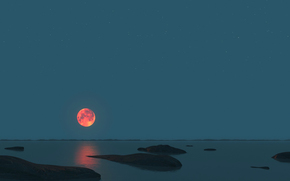 sky, moon, HORIZON, sea, stones, night, panorama