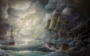 barcos, NUBES, ondas, tormenta, faro, pintura, cielo, vela, océano