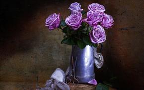 стиль, цветы, ножницы, розы, винтаж