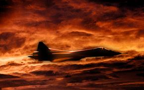 Рисунок, ПАК ФА, Россия, Авиация, Закат, Тучи, ВВС, Небо, истребитель, многоцелевой