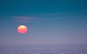 海, 太陽, 日没