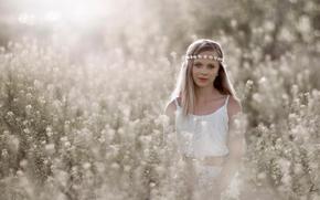 bokeh, wreath, girl, sun, portrait