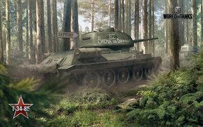 guerra, floresta, tanque