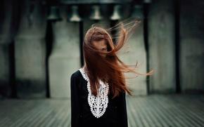 hair, wind, girl, portrait