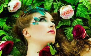 макияж, цветы, портрет