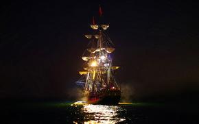 enviar, paisaje, noche, mar