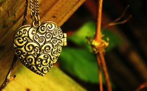 узоры, подвеска, зелень, цепочка, сердечко, кулон, листья, сердце, ветка