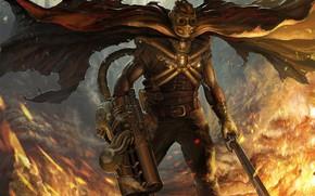 арт, стимпанк, меч, огонь, оружие, плащ, маска, мужчина