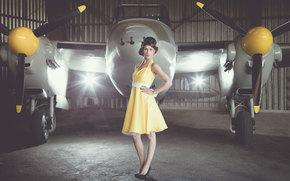 самолёт, девушка, платье