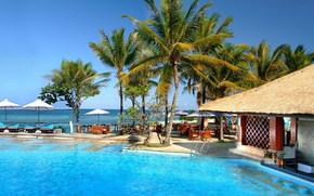 Bali, island, bungalow, Indonesia, Umbrellas, Palms, pool, sea, south, summer