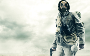 máscara, jaqueta, tubulação, perseguidor, BINOCULO, pistola, corda, nevoeiro