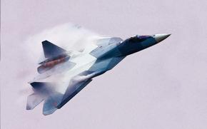 многоцелевой, истребитель, Россия, Рисунок, Самолет, Летит, ВВС, ПАК ФА, Сухой, Авиация