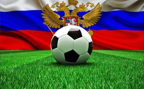 Copa del Mundo, bandera, fútbol, bola, Rusia