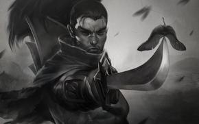 disegno, guerriero, spada, Yasuo, samurai