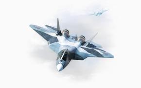 ВВС, многоцелевой, Нос, Кабина, Летит, ПАК ФА, Россия, истребитель, Крылья, Два, Рисунок, Самолет, Авиация