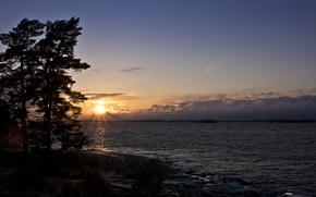 sun, trees, CLOUDS, lake, sunset, HORIZON