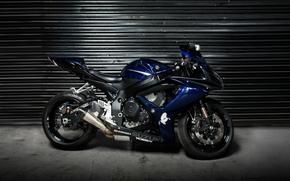 мотоцикл, суперспорт, ролеты, сузуки, Мотоциклы, профиль, синий
