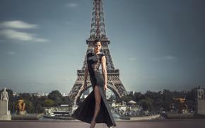 девушка, Париж, фигура, платье, Эйфелева башня