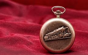 watch, Pocket, locomotive, red, metal, background
