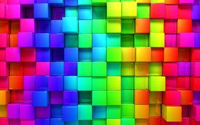 рендеринг, кубики, фон, кубы