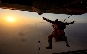 самолёт, солнце, парашютисты, небо