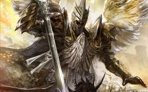 wings, armor, strike, battle, sword, angel