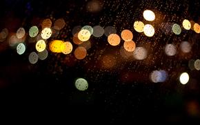 огни, дождь, боке, разноцветные, стекло, макро, капли, ночь