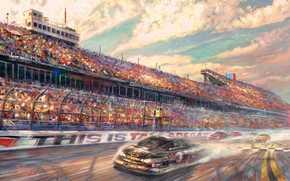 автострада, спидвей, мотоспорт, гоночный трек, спорт, Томас Кинкейд, скорость, трасса, автомобили, живопись, гонки